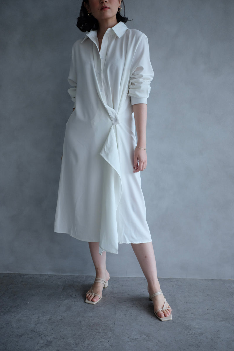 Jillian Drapery Shirt Dress In White