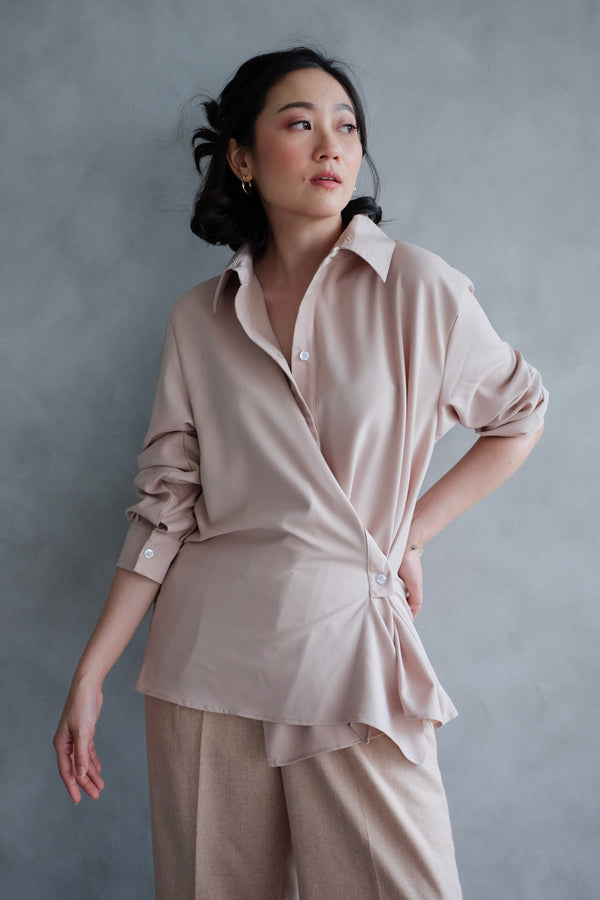 Kelly Drapery Shirt In Blush Nude