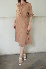 Jillian Drapery Shirt Dress In Milo