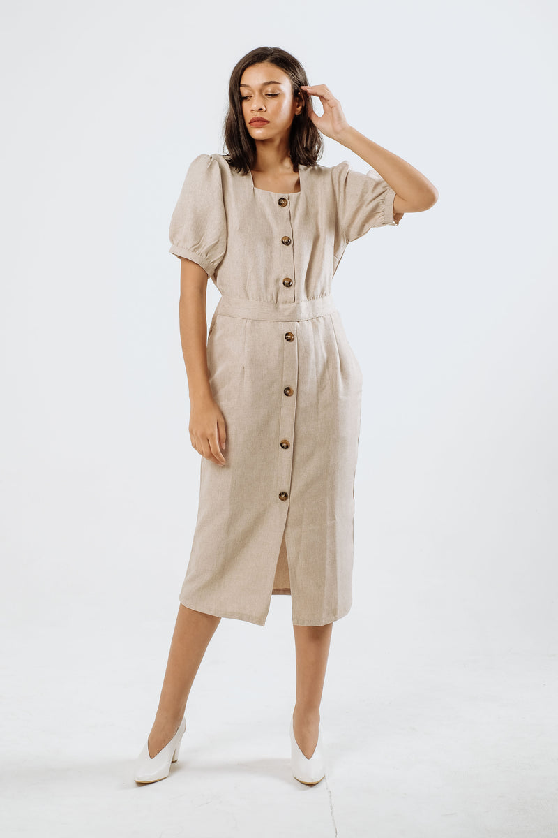 Kate Linen Midi Dress in Creme