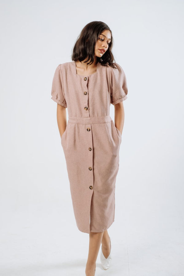 Kate Linen Midi Dress in Ash Pink