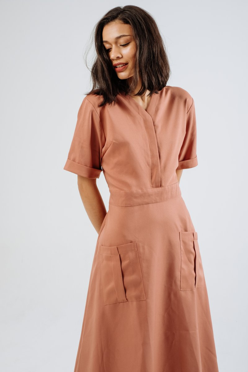 Audi Pocket Midi Dress in Rose