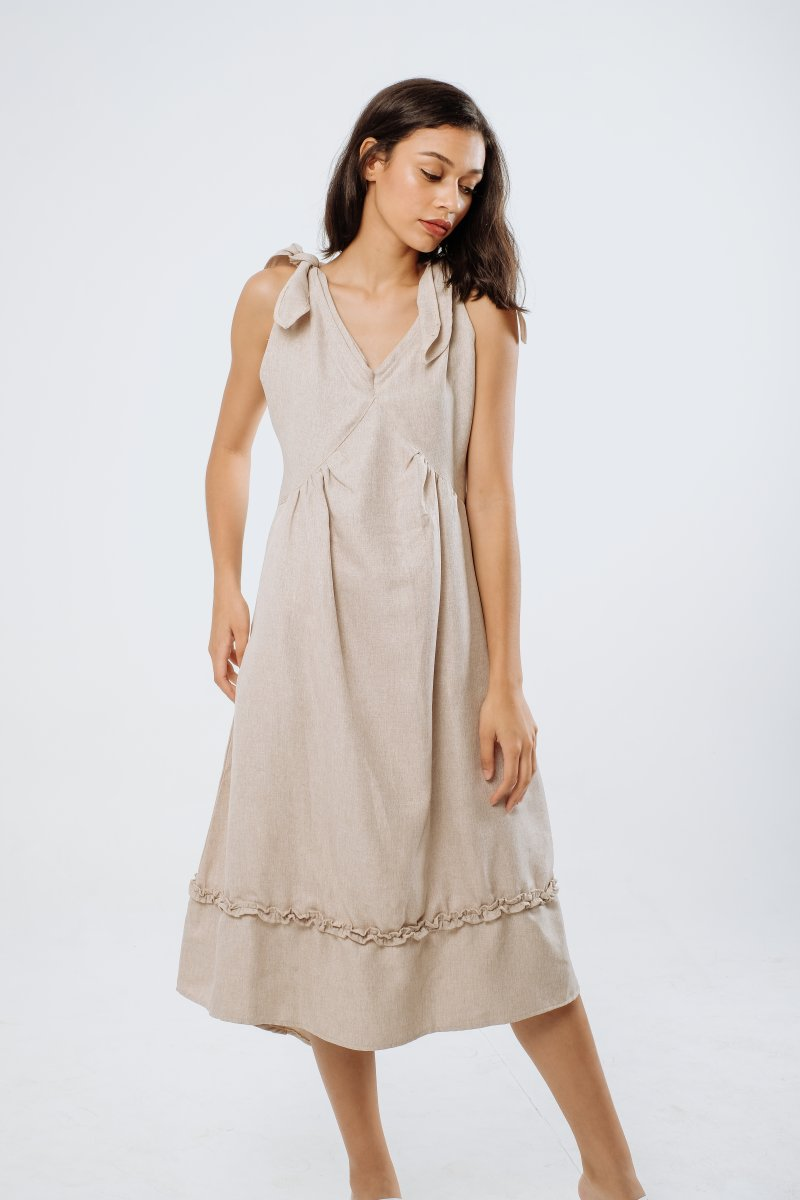 Resort Linen Midi Dress in Creme