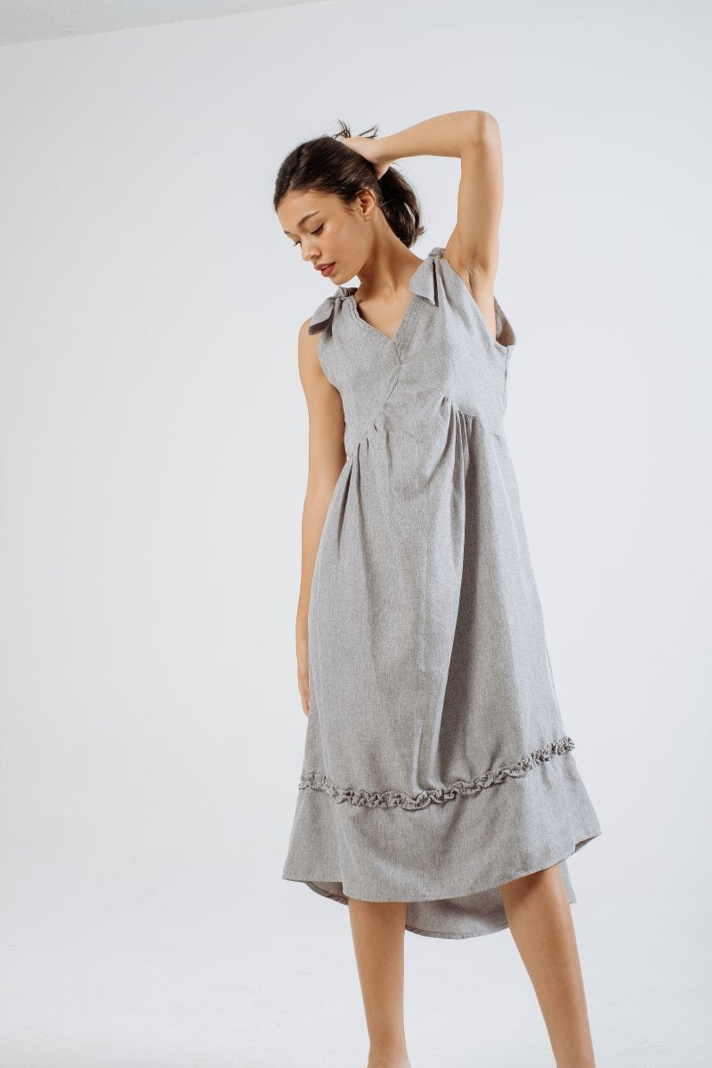 Resort Linen Midi Dress in Sky Blue