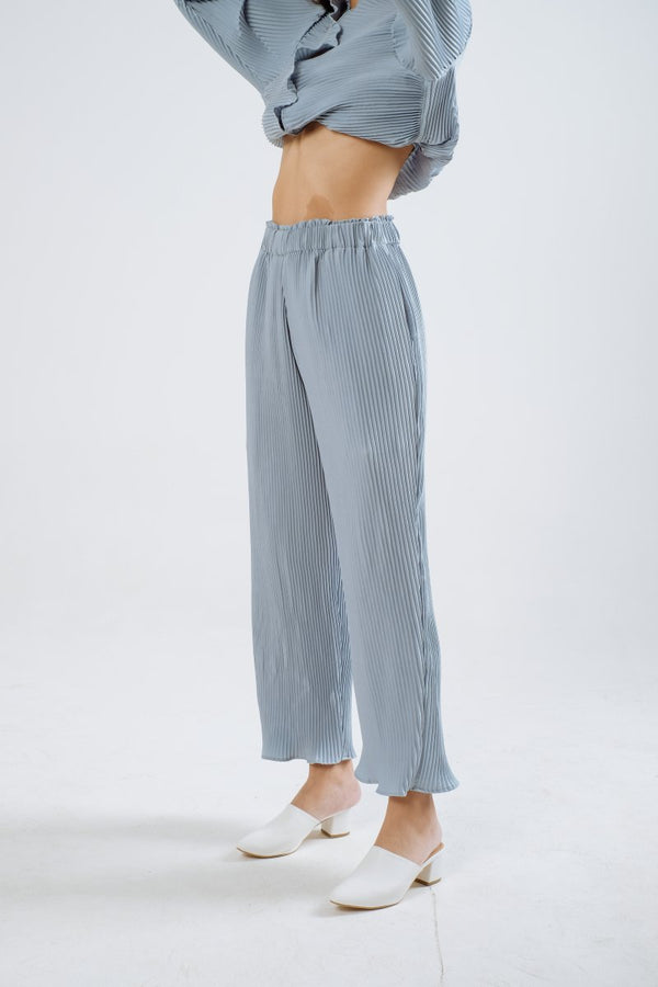 Luna Pleats Cullote In Sky Blue