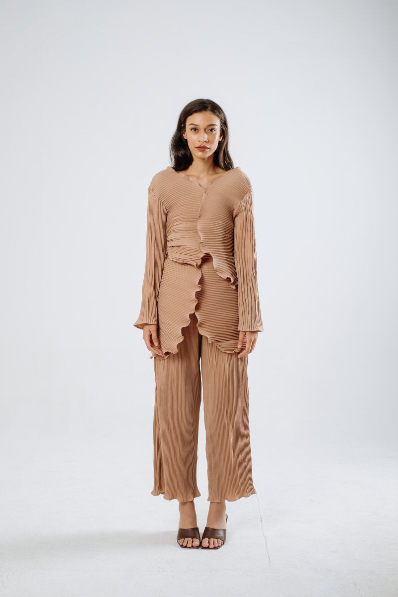 Petal Pleats Outer/ Top In Nude