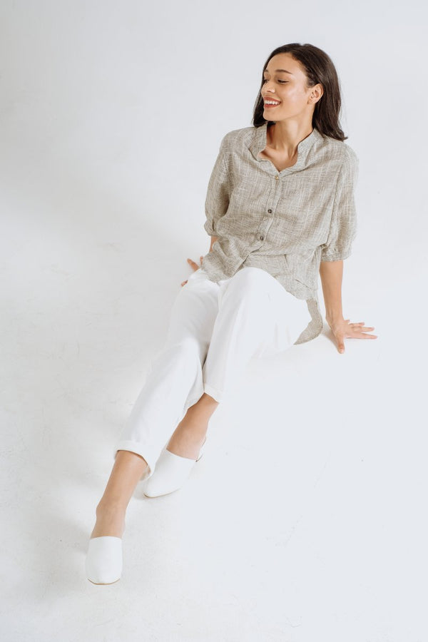 Sheer Linen Shirt in Gray