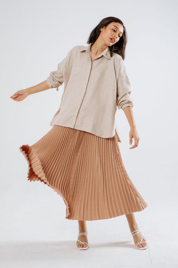 Cali Pleats Midi Skirt In Nude