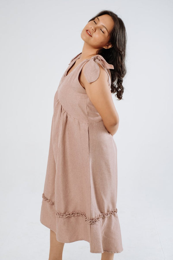 Resort Linen Midi Dress in Ash Pink