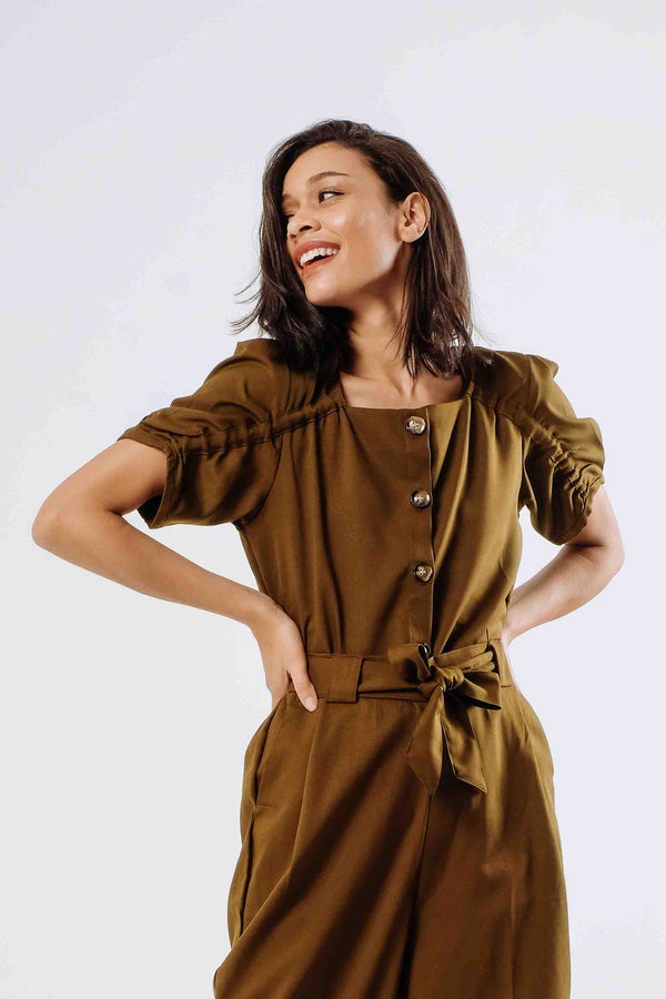 Peggy Square Neck Top in Olive Green