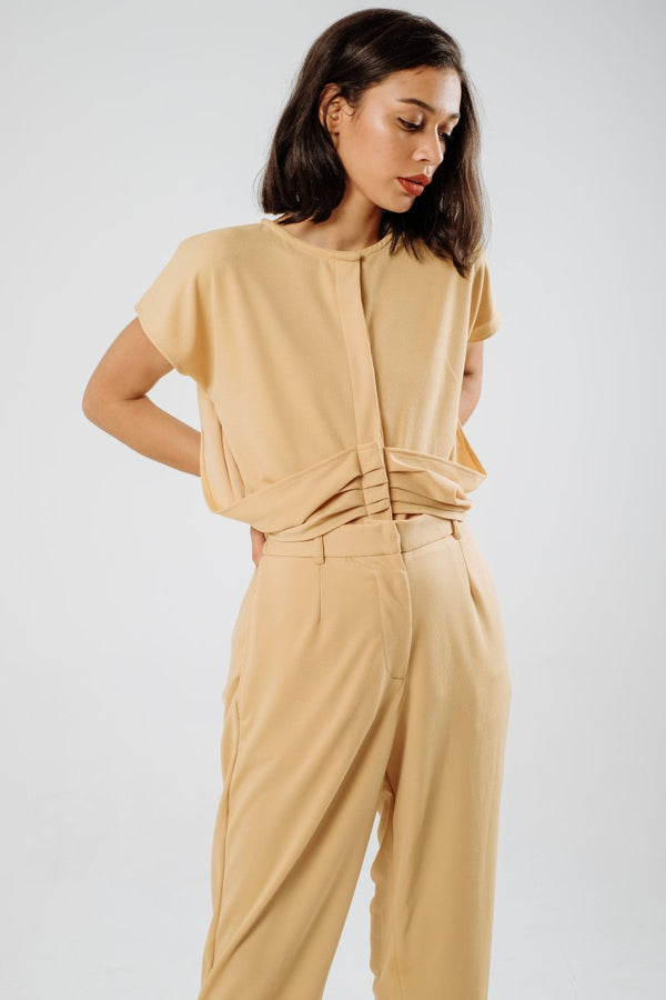 Gemma Drape Top In Honey