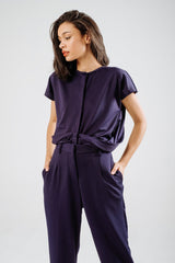 Gemma Drape Top In Midnight Blue