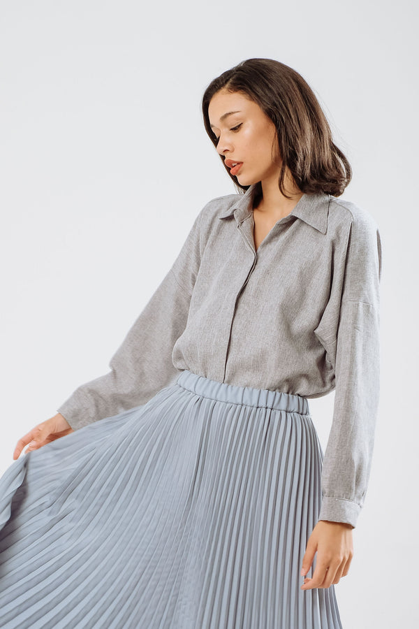 Oversized Linen Shirt in Sky Blue