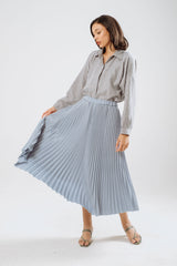 Cali Pleats Midi Skirt In Sky Blue