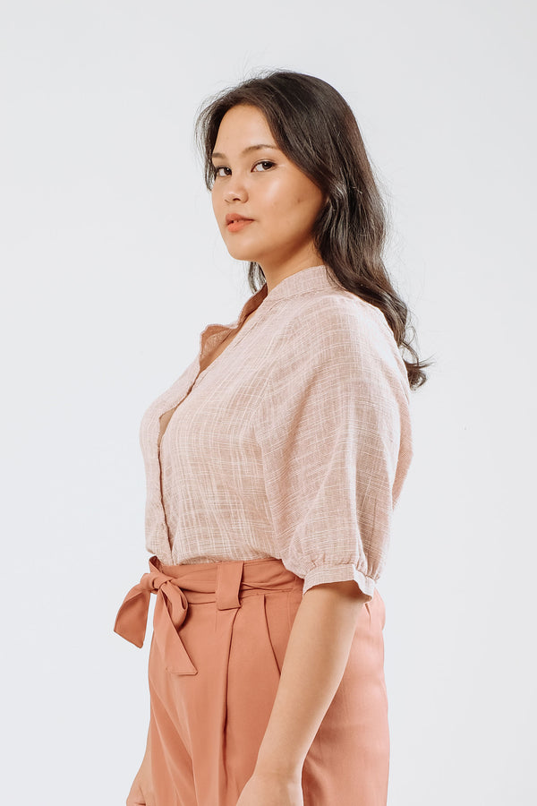 Sheer Linen Shirt in Soft Pink