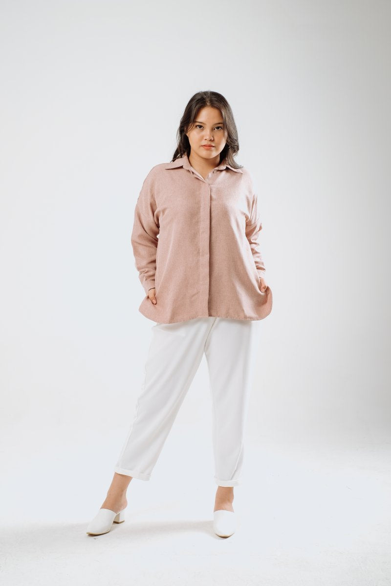 Oversized Linen Shirt in Ash Pink