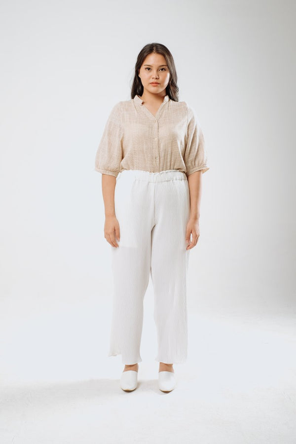 Sheer Linen Shirt in Cream Beige