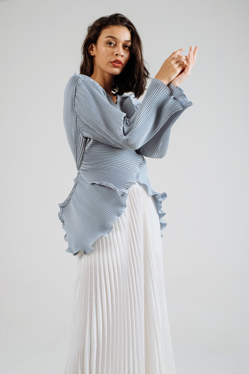 Petal Pleats Outer/ Top In Sky Blue