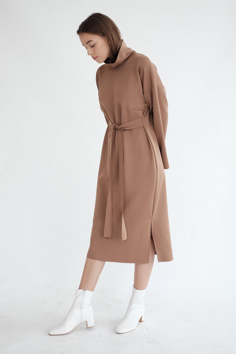 Classic Turtle Neck Dress in Deep Choco