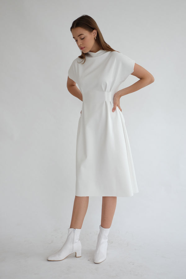 BROOKLYN MIDI DRESS IN WHITE