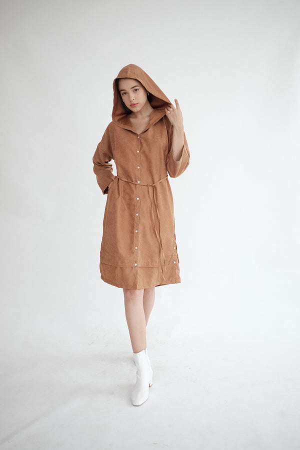 York Hoodie Dress in Caramel (PO ship max End of Nov)