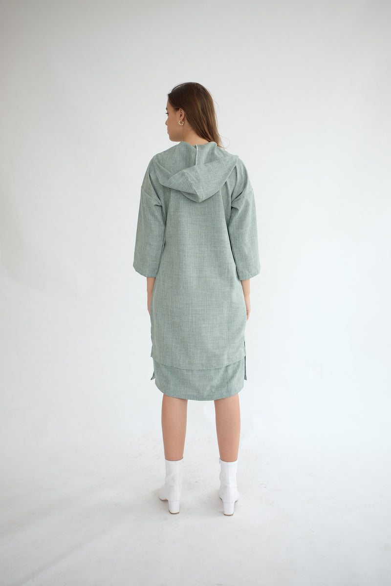 York Hoodie Dress in Sage Green