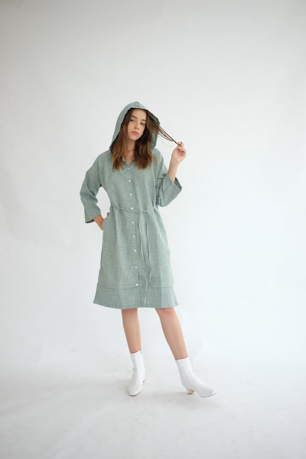 York Hoodie Dress in Sage Green (PO ship max End of Nov)