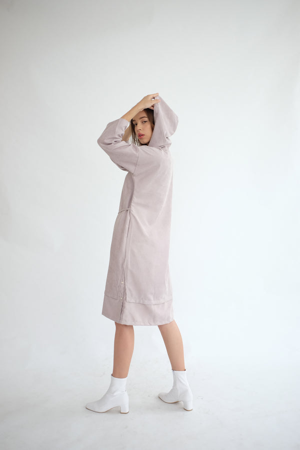 York Hoodie Dress in Ash Lilac (PO ship max End of Nov)