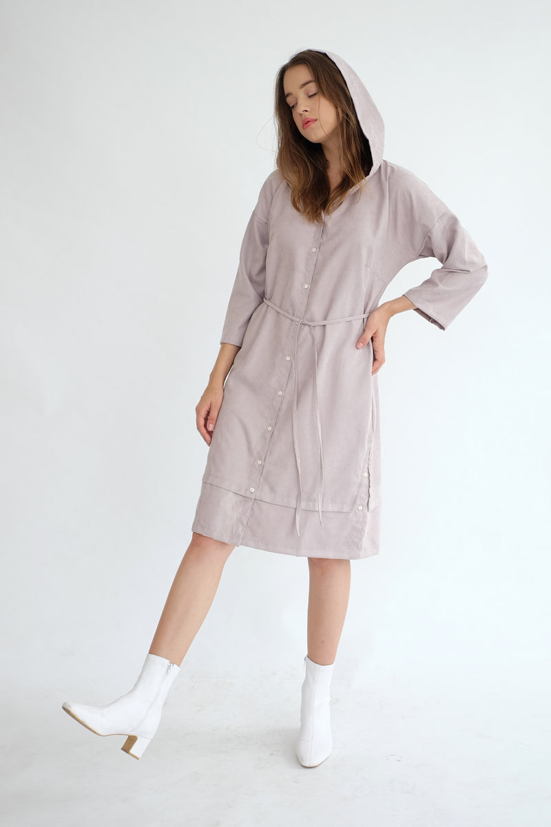York Hoodie Dress in Ash Lilac