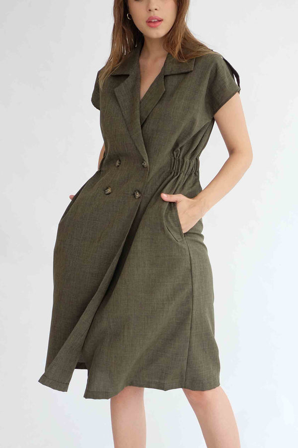 Trench Outer Dress in Olive ( READY)