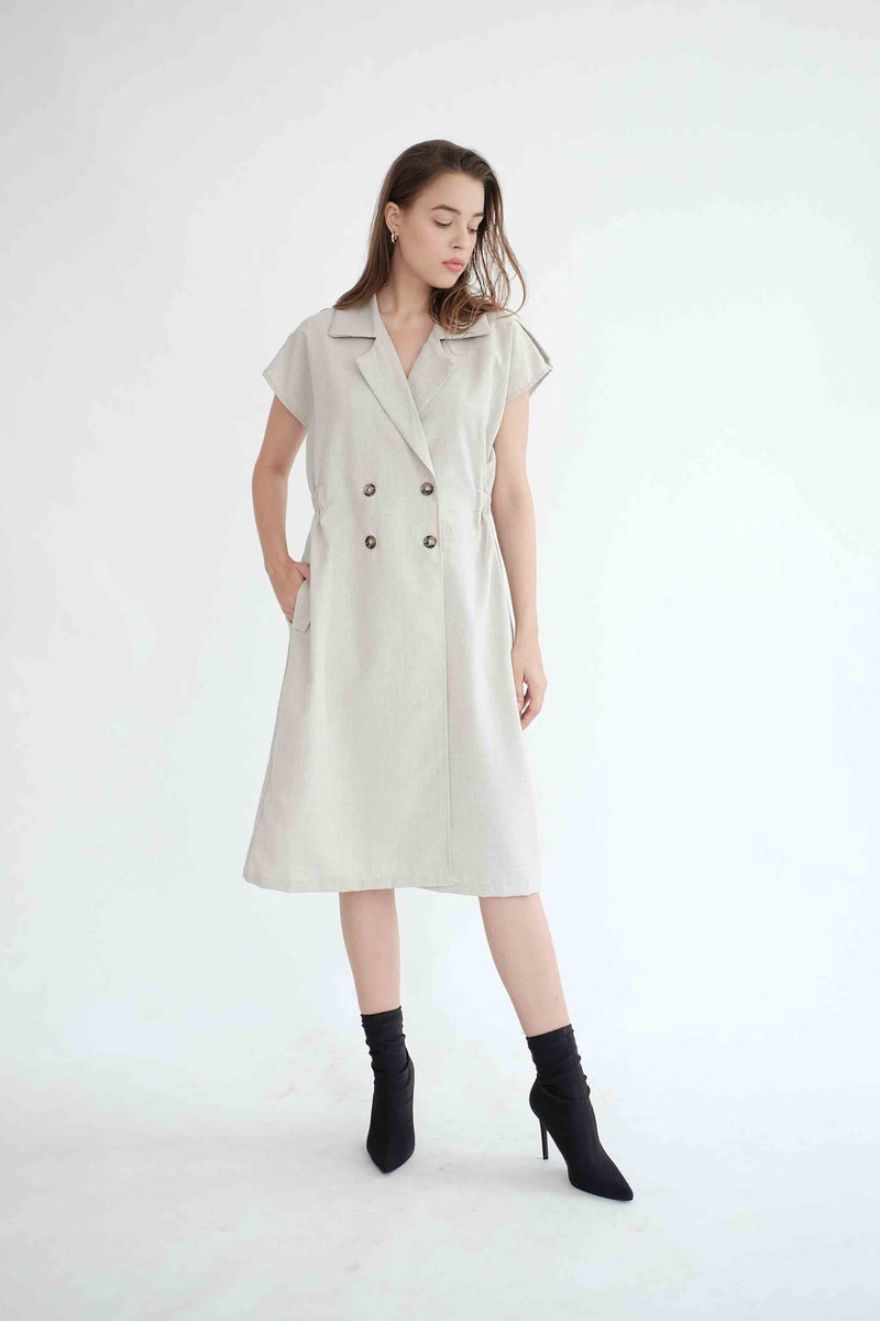 Trench Outer Dress in Light Khaki ( READY )