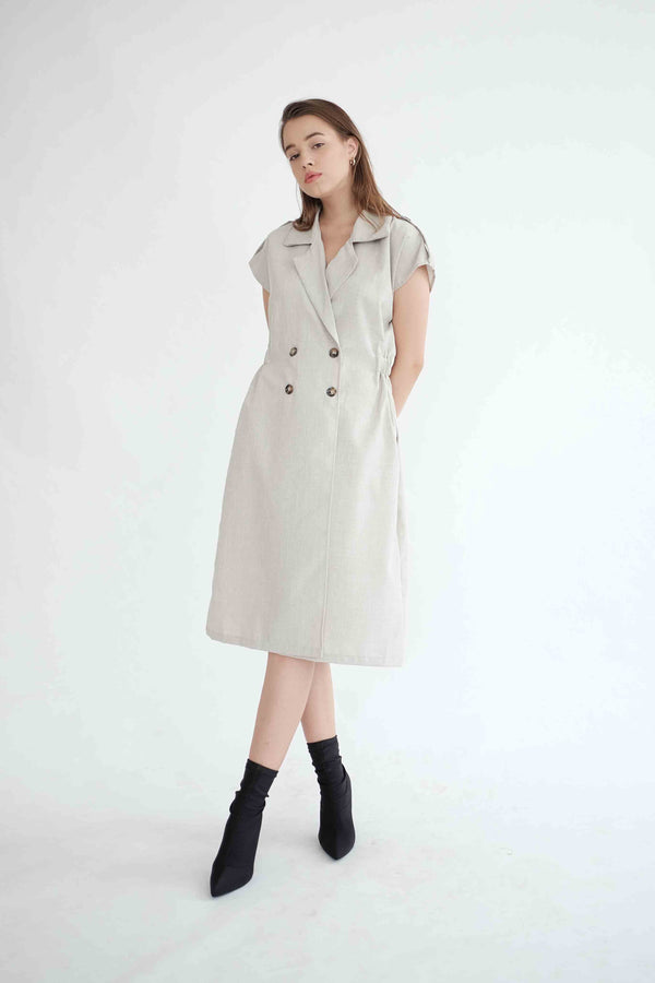 Trench Outer Dress in Light Khaki (PO ship max End of Nov)
