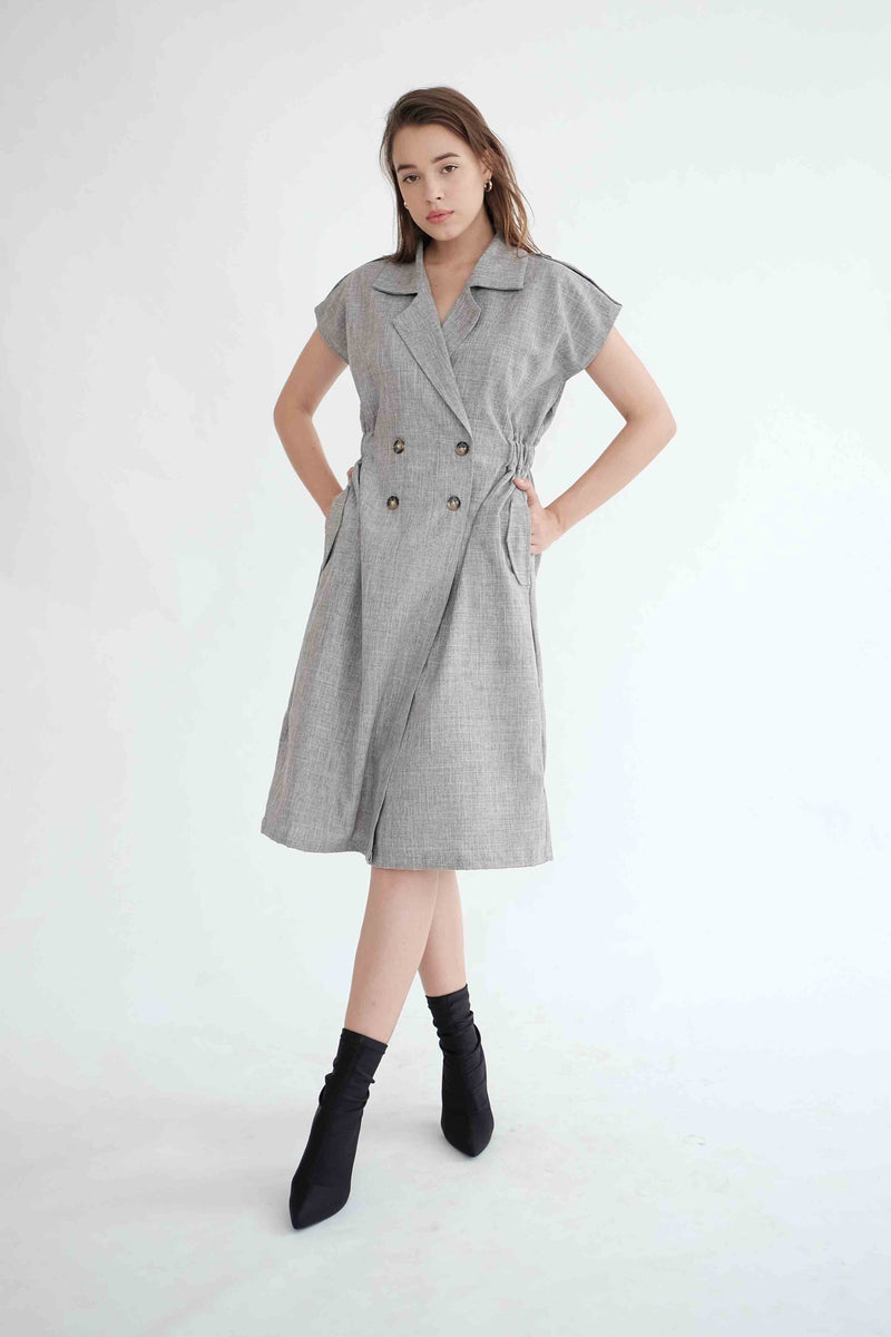 Trench Outer Dress in Grey (READY)