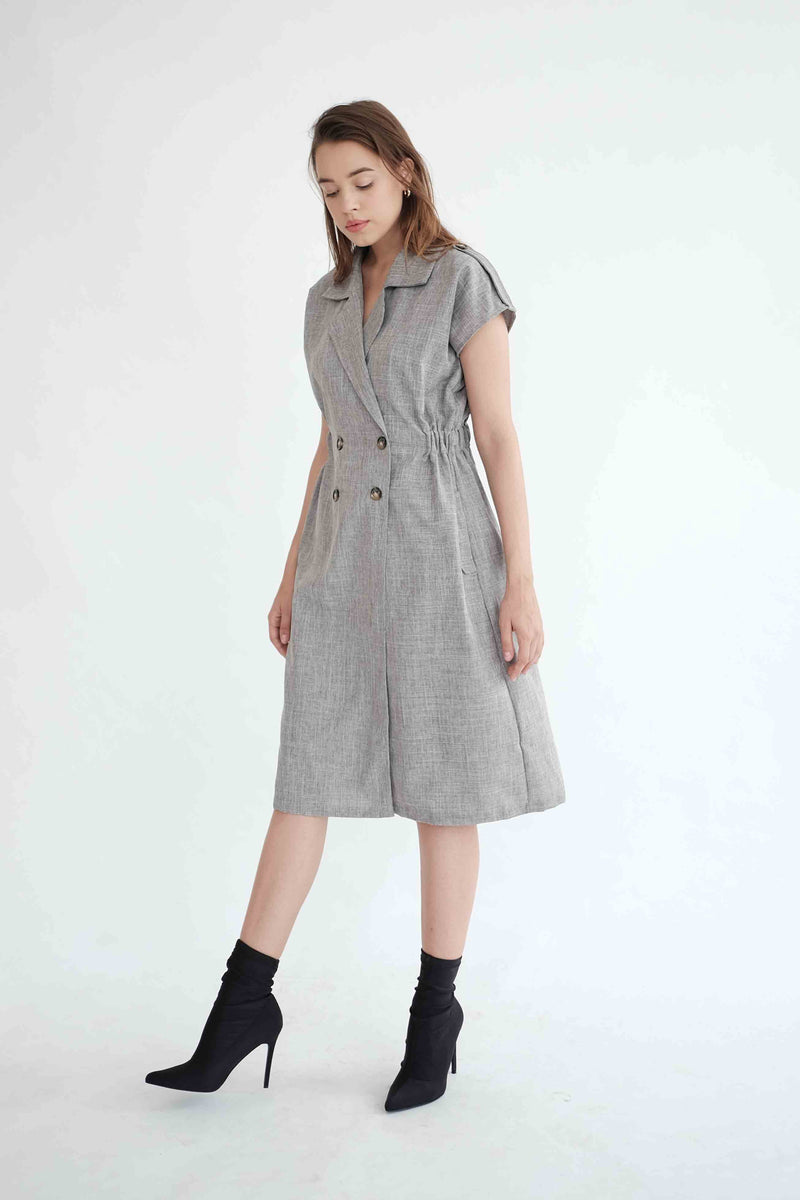 Trench Outer Dress in Grey (PO ship max End of Nov)