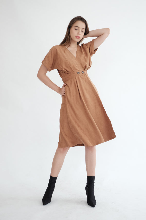 Liberty Flare Midi Dress in Caramel (PO ship max End of Nov)