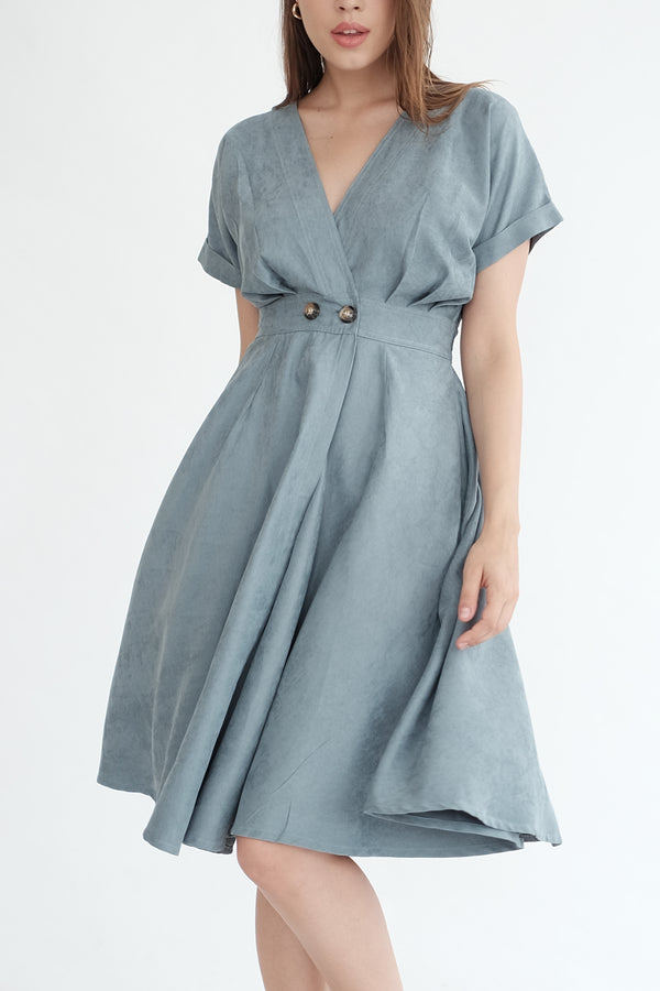 Liberty Flare Midi Dress in Dusty Blue (PO ship max End of Nov)