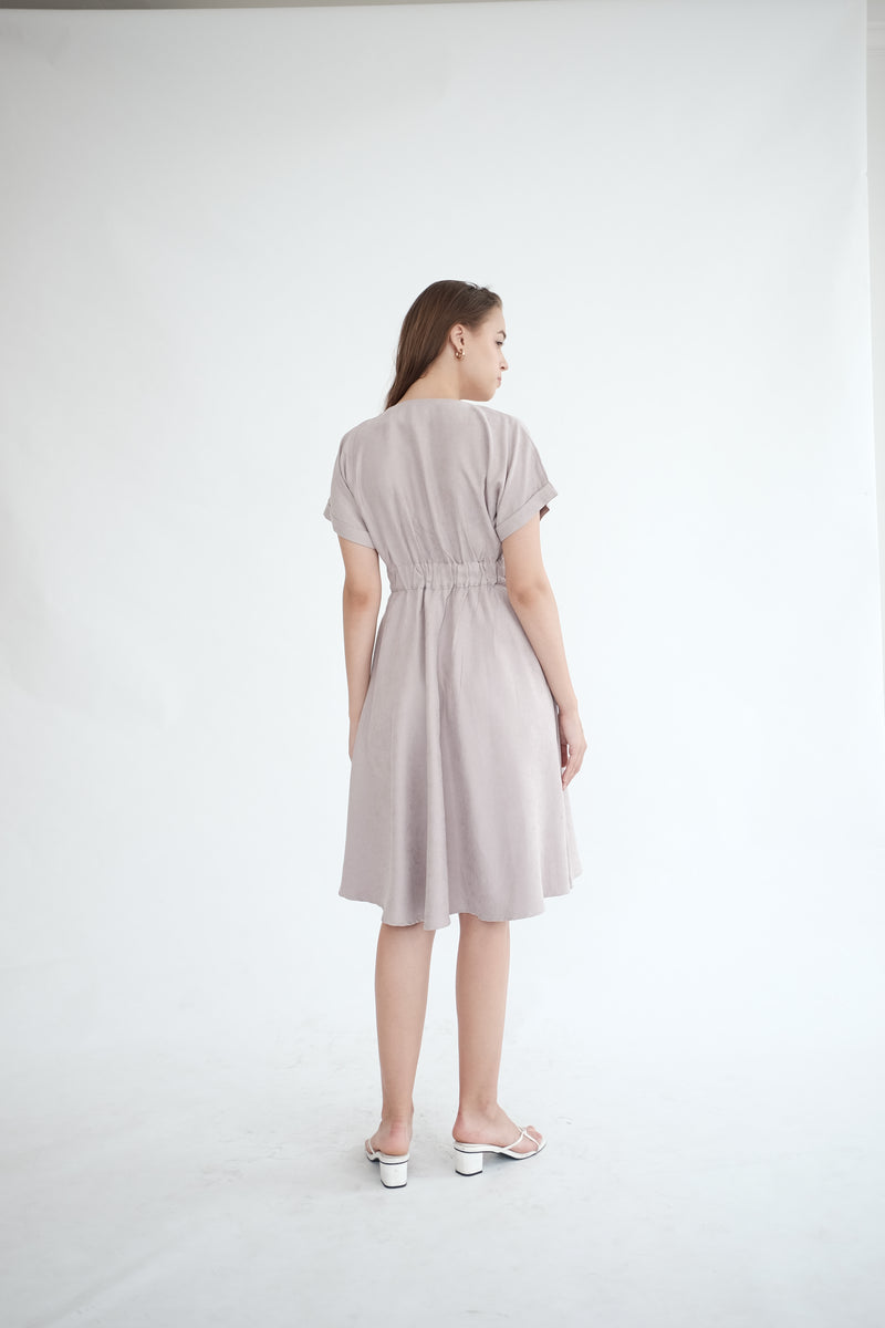 Liberty Flare Midi Dress in Ash Lilac