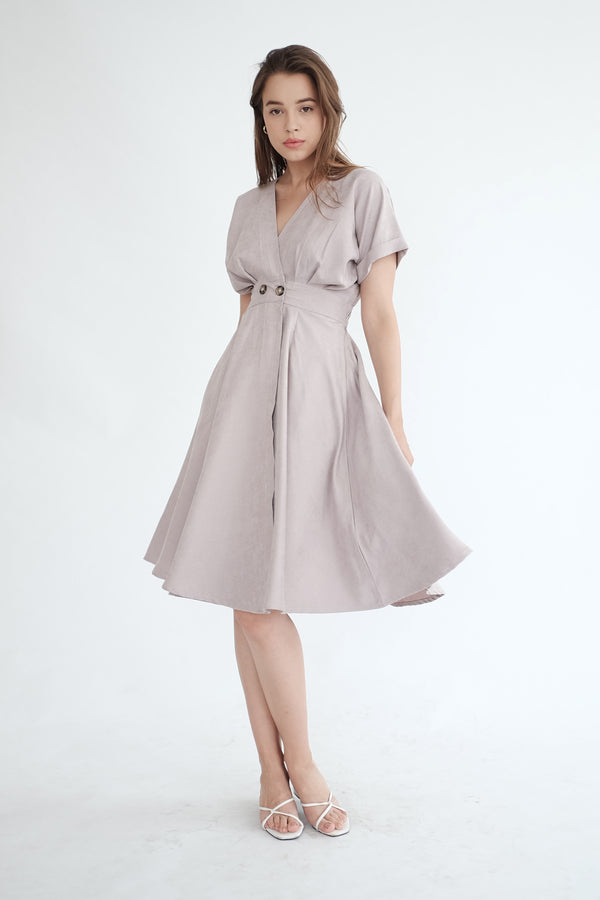 Liberty Flare Midi Dress in Ash Lilac (PO ship max End of Nov)