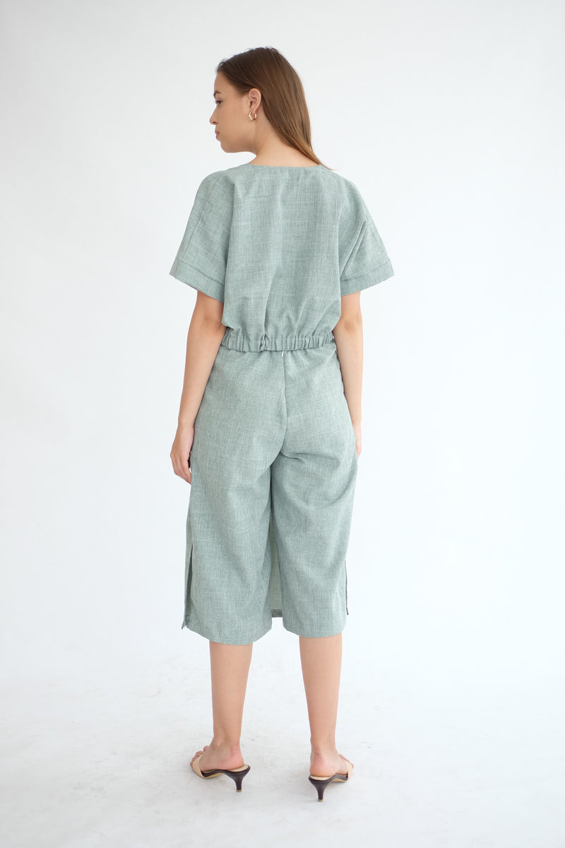 West Crop Top in Sage Green