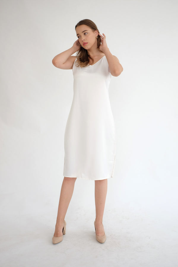 Satin Slip Dress in White