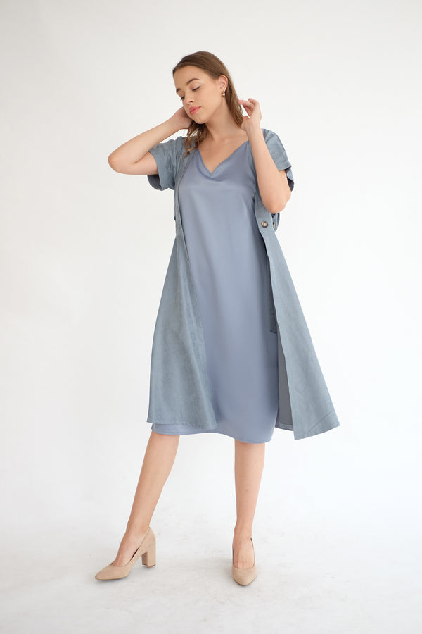 Satin Slip Dress in Dusty Blue