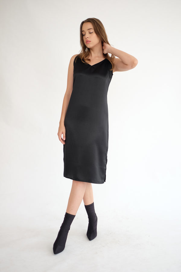 Satin Slip Dress in Black