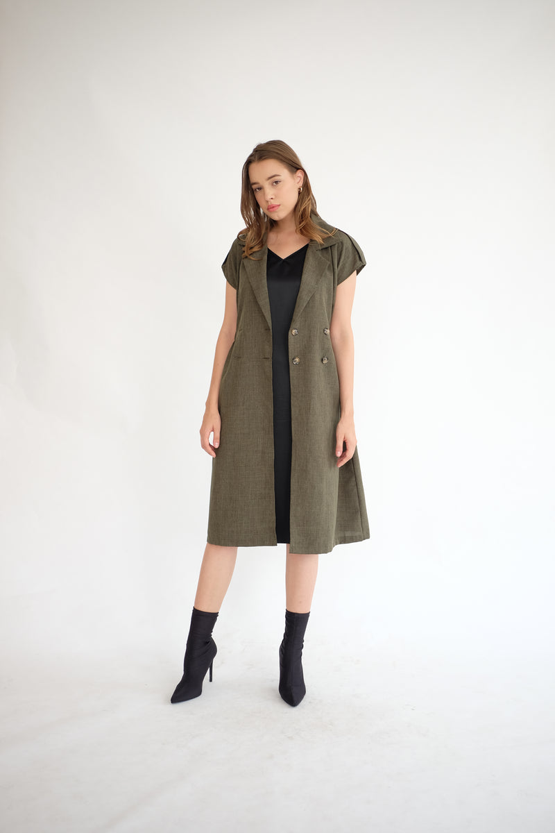 Trench Outer Dress in Olive (PO ship max End of Nov)