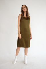 Satin Slip Dress in Olive