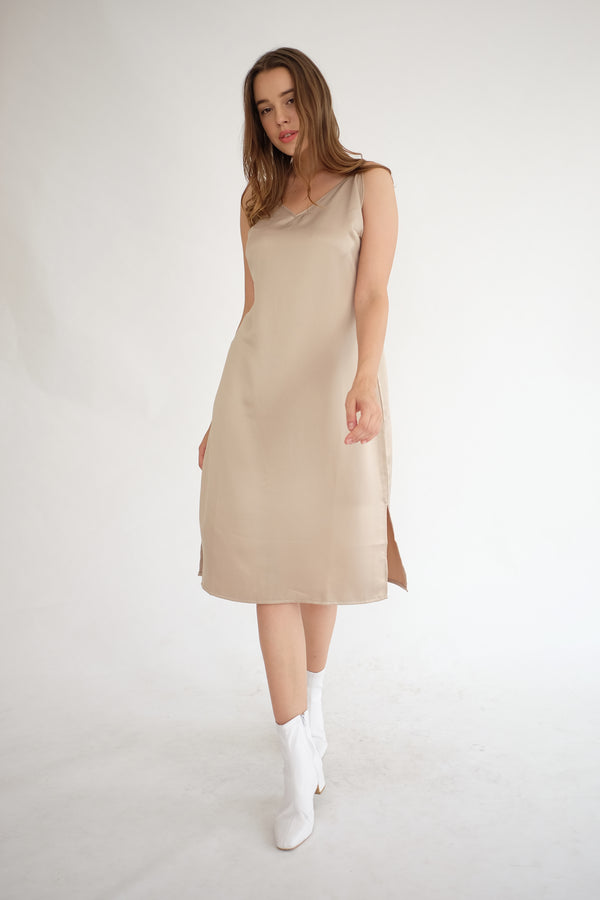 Satin Slip Dress in Nude