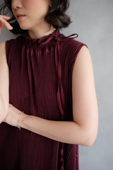 Margo Pleats Dress In Burgundy