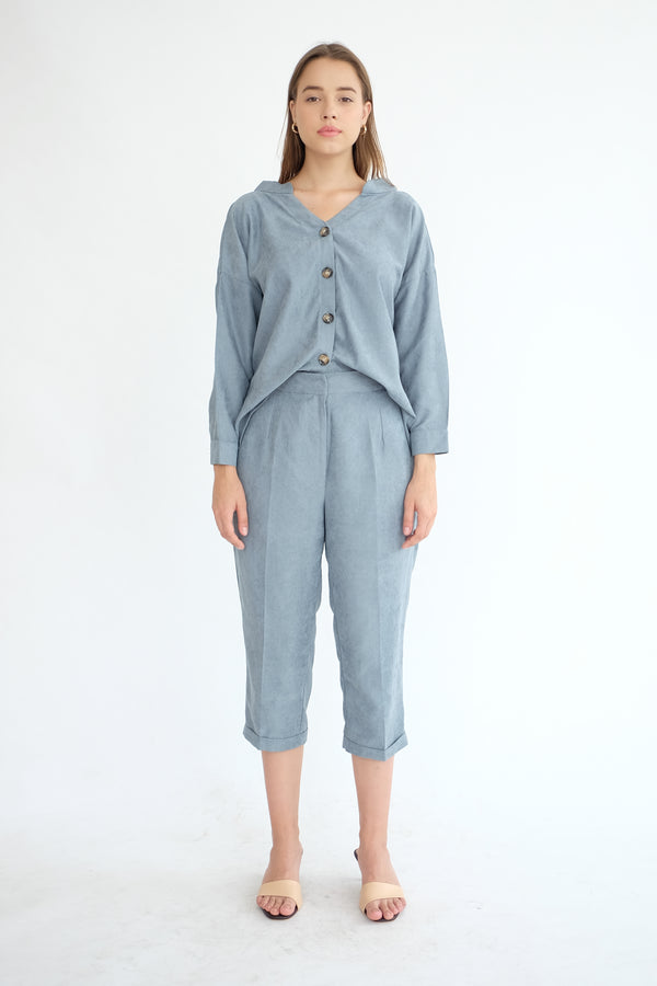 Kennedy Ankle Pants in Dusty Blue