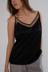 Satin Tulle Camisole in Black