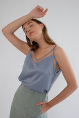 Satin Tulle Camisole in Dusty Blue