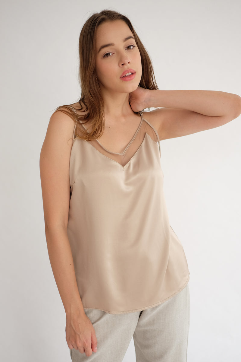 Satin Tulle Camisole in Nude